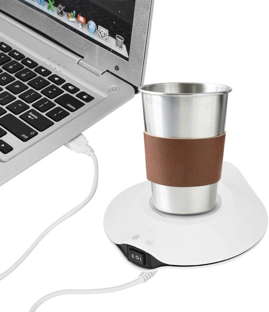 Noir VIFER Coaster USB Power Cold Hot Dual-Purpose Coaster Coffee Cup Tapis de Protection isol/é pour Office Home 1PC