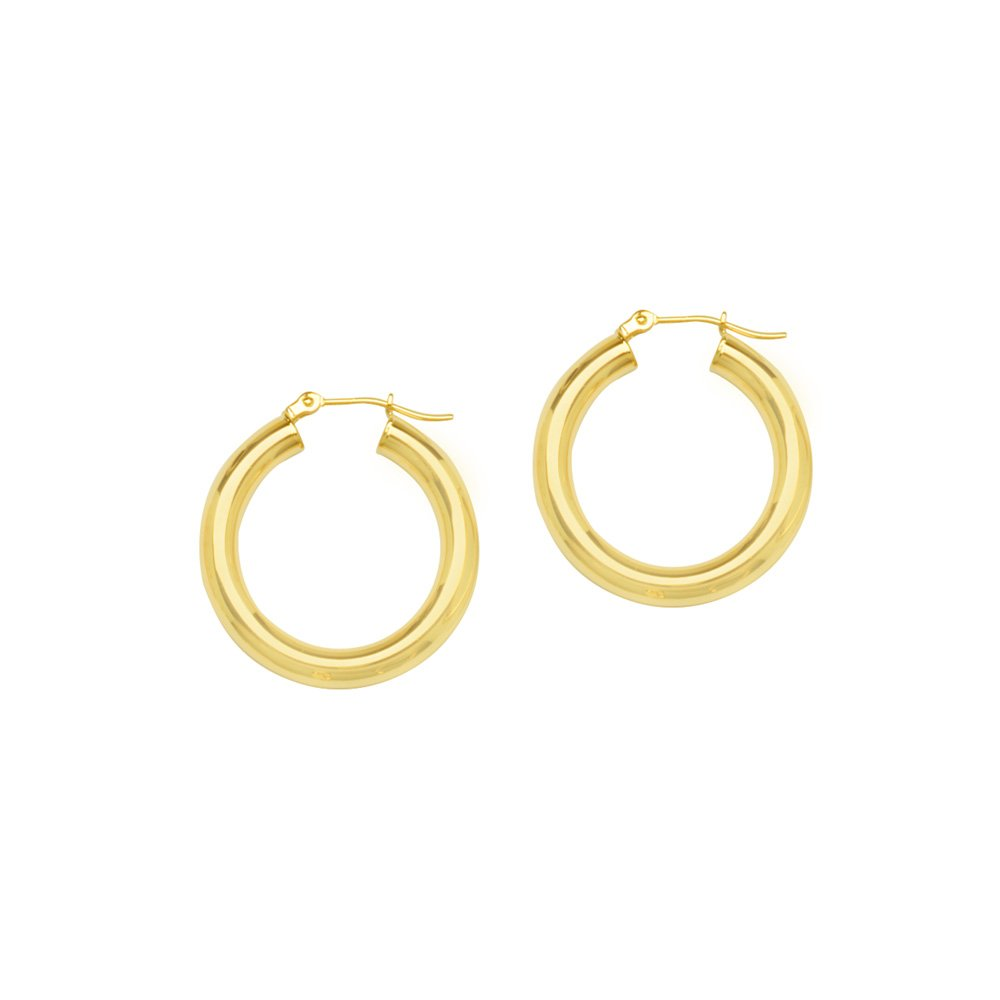 14kt Yellow Gold Polished 4mm x 25mm Hoop Earrings