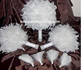 15pcs. Made to order Feather Brooch Bouquet Wedding Bridal Flowers Bride Bridesmaids CUST-100