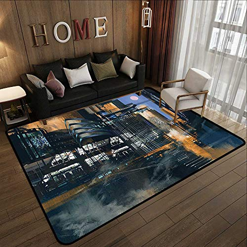 (Kids Rugs,Futuristic,Digital Paint Science Fiction Cityscape Architecture Cyberpunk Technology,Black Orange Blue 78.7