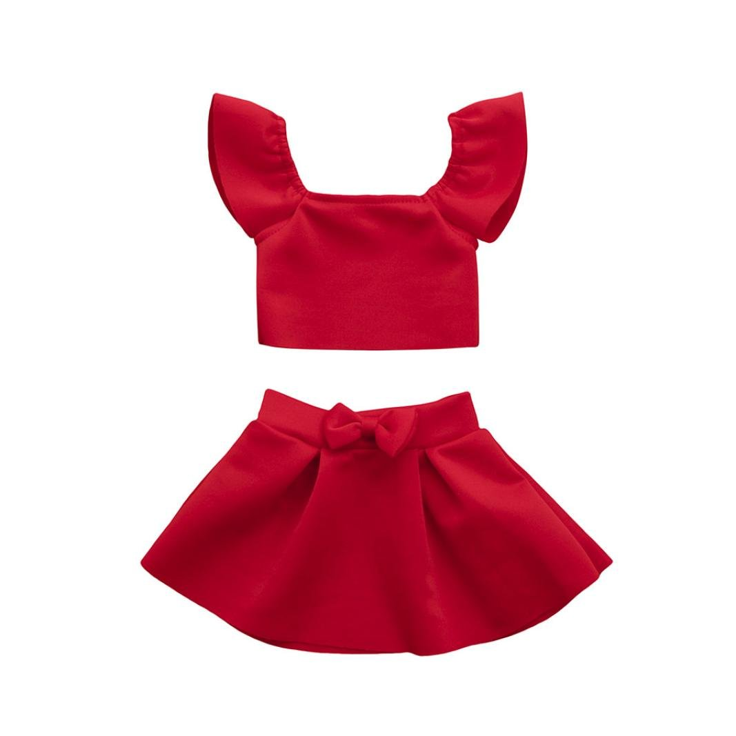 4c11e9e3bf91 Amazon.com  2PCS Toddler Baby Girl Solid Red Bow Off Shoulder Tops+Skirt  Clothes Sundress Dresses Sets  Clothing