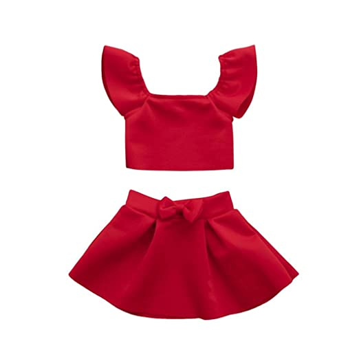 6a11c6c807bc 2PCS Toddler Baby Girl Solid Red Bow Off Shoulder Tops+Skirt Clothes  Sundress Dresses Sets