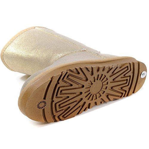 Winter Snow MILANAO Leather Gold Women Warm Metallic Boots qEHxw7HaX