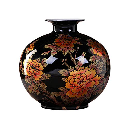 ECYC Chinese Style Vase Handmade Black Porcelain Crystal Glaze Flower Vase Home Decor