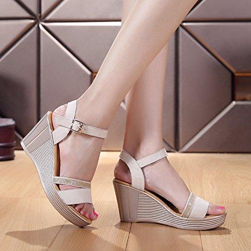 Pendiente Moda Frosted Alto Zapatos Sandalias Hebillas Grueso Sfsyddy Mujer Verano Lentejuelas Fondo Beige Muffins Cm De 8 Tacon 6BqxZ5qA