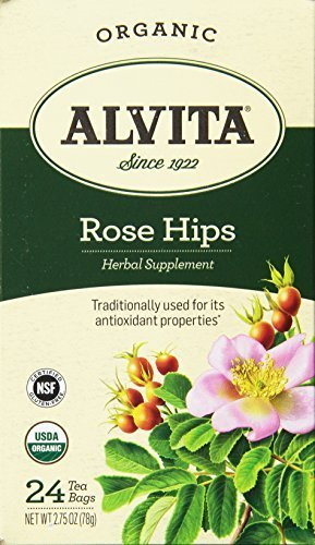 2 Packs of Alvita Tea - Organic - Rose Hips Herbal - 24 Tea Bags (Rose Health Hips)