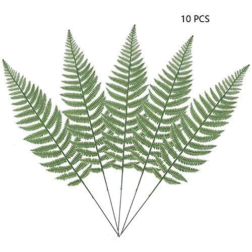 10PCS Artificial Boston Fern Bush Plant Faux Leaves Green Plants for Home Decor -Warmter Iron Palm Conditioning