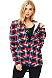 Ambiance Women's Button Down Flannel w Fleece Lining (L, Red)