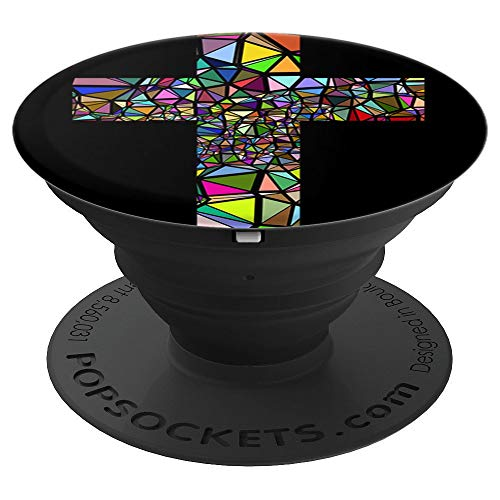 Stained Glass Window Effect Christian Pop Socket Cross Jesus - PopSockets Grip and Stand for Phones and Tablets
