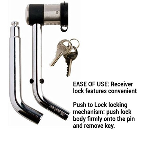 Master Lock Receiver Lock, Swivel Head Receiver Lock, Fits 1/2 in. & 5/8 in. Receivers, 2866DATSC