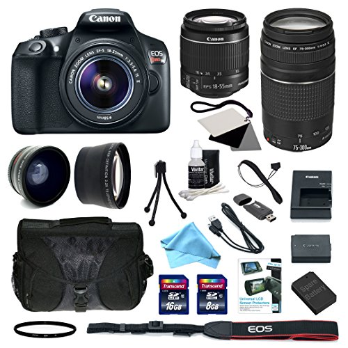 Canon EOS Rebel T6 Digital SLR with EF-S 18-55mm f/3.5-5.6 IS II Standard Zoom Lens + EF 75-300mm f/4-5.6 III Telephoto Zoom Lens + Deluxe Accessory Bundle (99924)