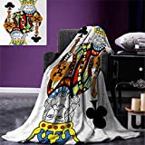 smallbeefly King Warm Microfiber All Season Blanket King Clubs Playing Gambling Poker Card Game Leisure Theme Without Frame Artwork Print Artwork Image 62''x60'' Multicolor