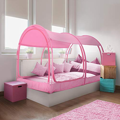 Alvantor 2005MP Mosquito Net Canopy Bed Dream Privacy Space Twin Size Sleeping Tents Indoor Pop Up Portable Frame Breathable Cottage Pink (Mattress Not Included)