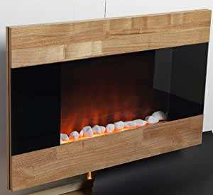Electric Fireplace Wall Mount Space Heater Ventless Wall Mounted 750 Watt or 1500 Watt Wooden Front Finish Quartz Heating with Remote Control. Realistic Flame Effect. Brand: Perfect Life Ideas -Tm®