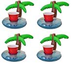 Inflatable PALM TREE Drink Drinks Can Holder Floating Hot Tub Pool Flamingo Pack Of 4