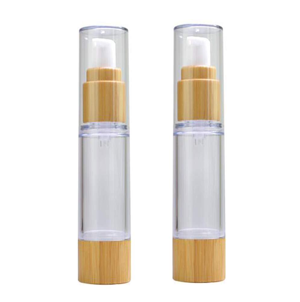 2PCS 100ml/3.4oz Empty Refillable Plastic Airless Vacuum Pump Press Bottle Lotion Dispenser with Eco Bamboo Lid and Bottom Travel Cosmetic Containers Jar Pot Vial for Emulsion Essence Serum