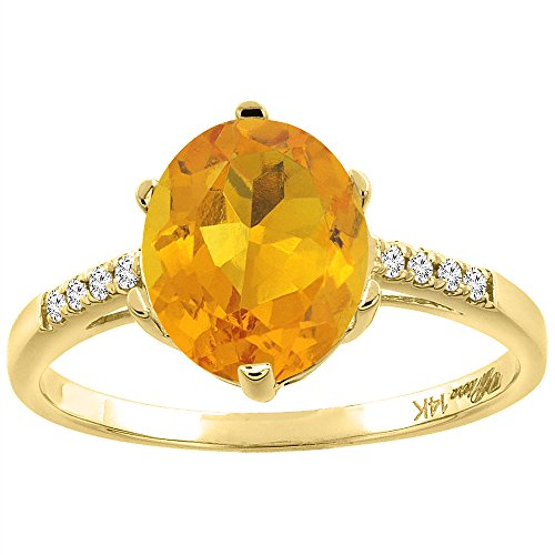 14K Yellow Gold Natural Citrine & Diamond Ring Oval 10x8 mm, size 5.5