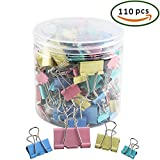 FJSM 110 Pcs Colorful Binder Clips Set 0.6-2 Inch Assorted Sizes Large Medium Mini Foldback Photo Clip Metal Organizer Binder Holder File Paper Document Clamp for Office Home Schools
