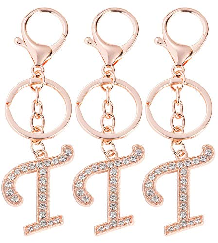 T Initial Charms - 3-Pack Rose Gold Letter Keyring, Purse Keychain for Handbags, Crystal Alphabet Initial Letter Pendant with Key Ring, 5 Inches
