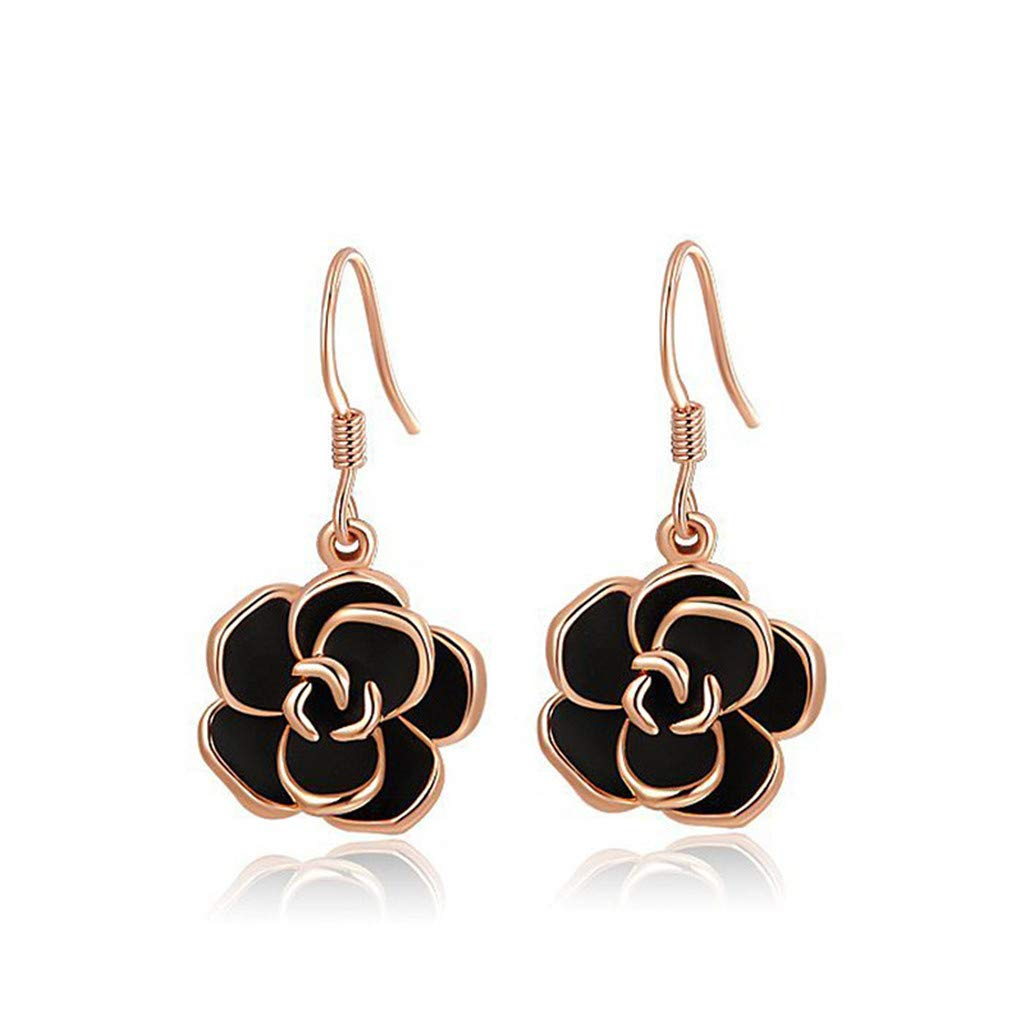 Simulated Black Rose Earrings Wedding Jewelry Birthday Mother Gift For Women Party Wear by Mrsrui