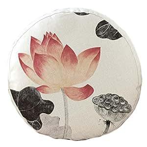Amazon.com: Chinese Lotus Pattern Round Cushion Chair Cushion Floor Cushion Pillow Seat Pad, No ...