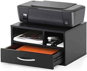 SUYING Wood Desk Organiser with 2 Storage, 1 Drawer, DIY Desktop Storage Rack Office Supplies (Without Printer)
