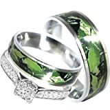 His and Hers Camo 3pc Matching Stainless Steel Sterling Silver Engagement Wedding Rings Set (Size Men 10; Women 7)