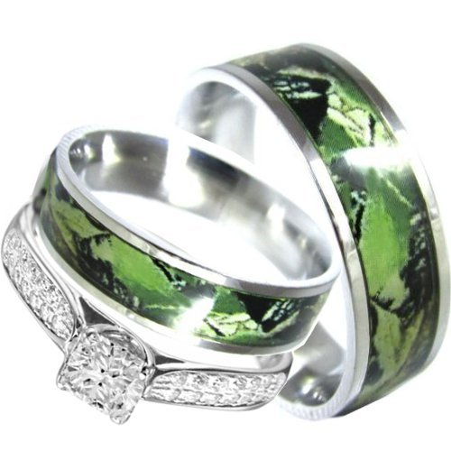 His and Hers Camo 3pc Matching Stainless Steel Sterling Silver Engagement Wedding Rings Set (Size Men 11; Women 9)