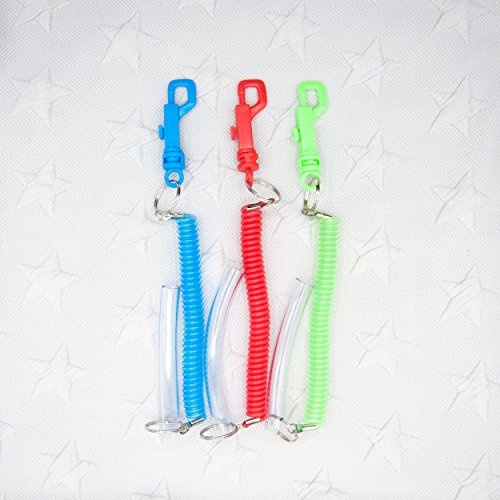 PACK OF 3 Chew Tube Clip-On Spiral Keychains Autism, ADHD, Sensory, Special Needs by Sensory Kid