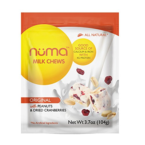 Natural Milk Candy, 4g Protein, Low Sugar, Chewy, Creamy, Wholesome Snack with Peanuts and Dried Cranberries, Gluten Free, Made in the USA, 3 Bags with 24 individually wrapped pieces total, by Numa -
