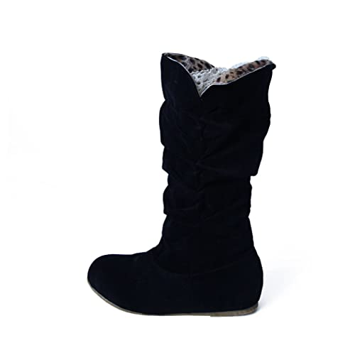 Womens Winter Snow Boots - Mid-Calf Slouchy Boot Shoes - High Tube Flat Riding Winter Boots