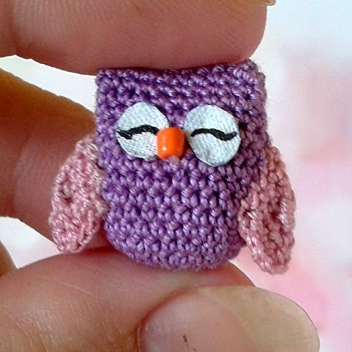 Micro Owl Figurine. Handmade Crochet Tiny Dollhouse, used for sale  Delivered anywhere in USA