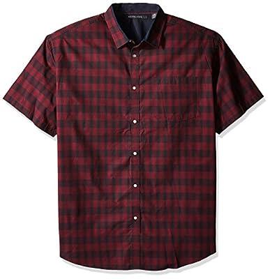 Sean John Men's Big and Tall Short Sleeve Yd Plaid Shirt