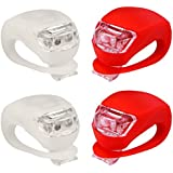 Refun Bicycle Light - Front and Rear Silicone LED Bike Light Set - 2 High Intensity Multi-purpose Water Resistant Headlight - 2 Taillight for Cycling Safety- Spare Batteries Included