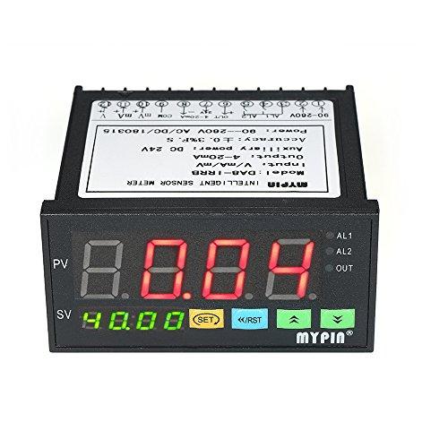 Festnight Multi-functional Digital LED Display Sensor Meter with 2 Relay Alarm Output and 0~10V/4~20mA/0~75mV Input ()