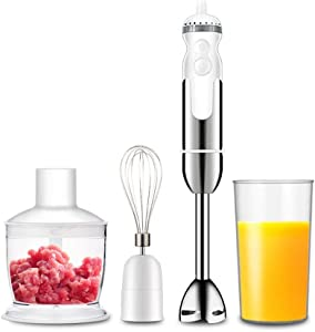 WAXGHH Hand Blender, Stainless Steel 800W Hand Immersion Blender, Stick Blender with Beaker and Food Processor, Stainless Steel Blade, Egg Whisk for Smoothies, Soups, Sauces, Baby Food