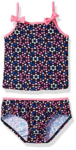 Pink Tankini Dot (Osh Kosh Baby Girls' Dot Floral Tankini Swimsuit Set, Navy/Pink, 12 Months)
