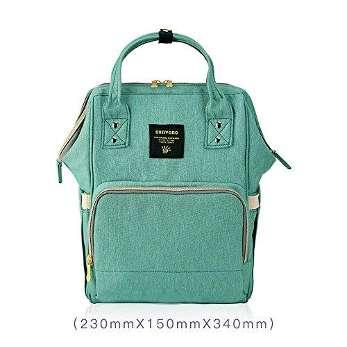 Bolso de la momia, bolso de múltiples funciones de la mamá de la gran capacidad, morral de los hombros, bolso de la madre de la manera, bolso del bebé de la madre ( Color : Azul ) Verde
