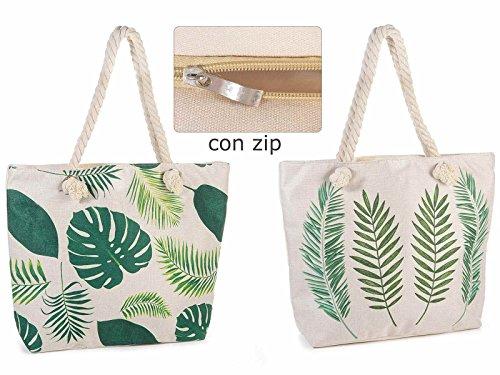 2 Borsa in stoffa colorata c/stampa foglie e manici corda