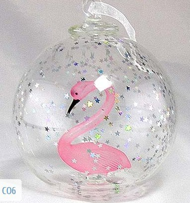Hand Blown Flamingo Christmas Ornament by Yurana Designs CO6