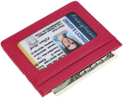RFID Blocking Front Pocket Slim Wallet,HNHC Genuine Leather Thin Credit Card Holder