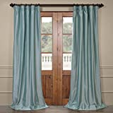 Half Price Drapes PTCH-BO5-96 Blackout Faux Silk Taffeta Curtain, Robin's Egg