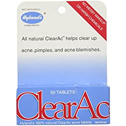 Hyland's ClearAc Tablets, Natural Relief of Acne, 50 Quick Dissolving Tablets