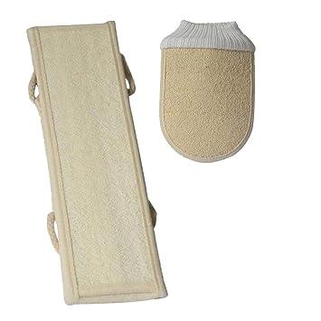 HEALIFTY Nature Lofah Songe Baño Toalla y guantes Conjuntos de baño de cuerpo de algodón 2 piezas (Beige): Amazon.es: Salud y cuidado personal