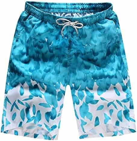 320f903112463 Li-Never Short Men's Trunks Printed Loose Drawstring Beach Swimsuit Board Shorts  Summer Fitness Casual