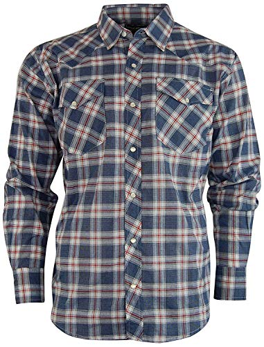 Casual Country Men's Snap-Front Western Plaid Shirt (X-Large, Blue/Red)
