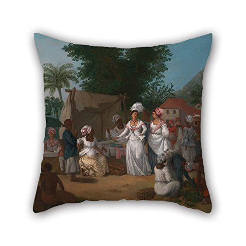 Oil Painting Agostino Brunias - A Linen Market With A Linen-stall And Vegetable Seller In The West Indies Pillow Cases 16 X 16 Inches / 40 By 40 Cm Gift Or Decor For Wedding Dance Room Seat Couple ()