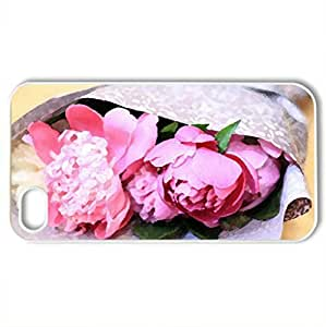 Peonies - Case Cover for iPhone 4 and 4s (Flowers Series, Watercolor style, White)