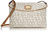 Calvin Klein Monogram Zip Cross Body Bag, Almond/Khaki/Camel, One Size