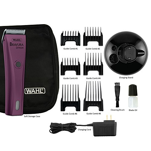 Wahl Professional Animal Bravura Cordless Lithium Pet Clipper, Purple, 41870-0423